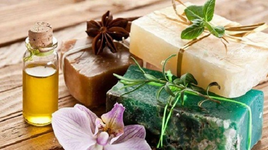 essential oils and herbal soap